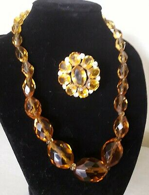 Art Deco 1920s 1930s vintage amber Czech  Glass Necklace and Brooch Flapper