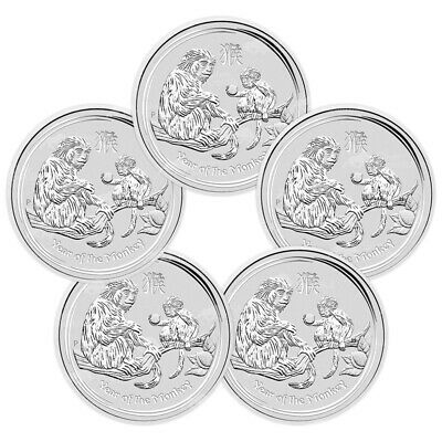 Lot of 5 x 5 oz 2016 Perth Mint Lunar Year of the Monkey Silver Coin