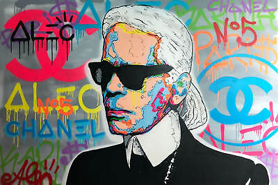 """Alec monopoly Handcraft Oil Painting on Canvas,""""KARL LAGERFELD"""" 24×36"""""""