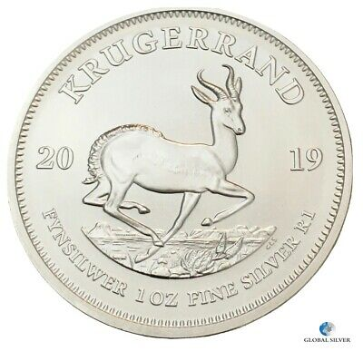 2019 1 oz silver Krugerrand South African bullion new coin in a capsule unc.
