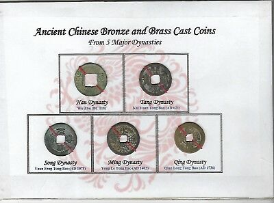 China, lot of 5 pieces ancient bronze and brass cast coins on a cardboard