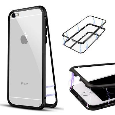 magnetic case for apple iphone 6 6s 7 8 PLUS black metal clear back cover screen