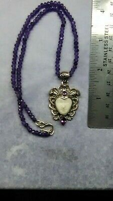 Bali Goddess Carved Bone with Amethyst Sterling Silver 16.5 Amethyst Necklace