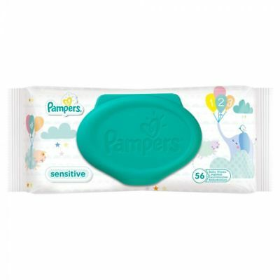 NEW Pampers Fresh Clean Baby Wipes FOR SENSITIVE SKIN 56 Wipes 1 2 3 6 12 Packs