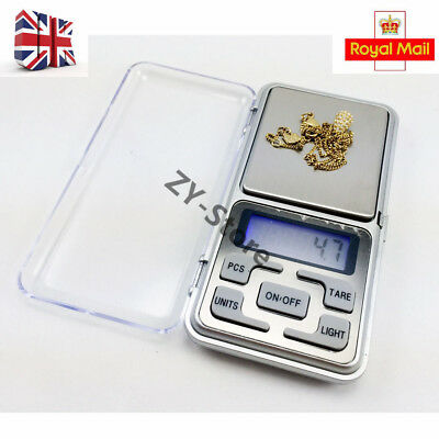 UK 0.1g-500g Digital Pocket Weighing Mini LCD Electronic Jewelry Gold Scale Herb