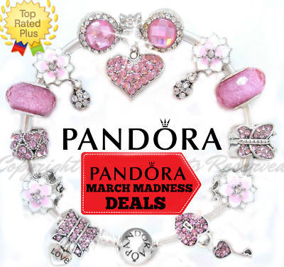 Authentic Pandora Bracelet Silver with Pink European Charms Hearts New