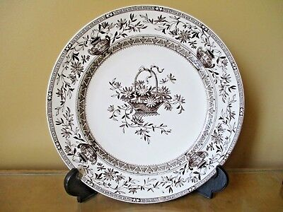 Antique 1884 Honfluer Brown Pottery Transfer Cream Earthenware Wall Plate