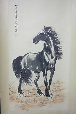 "Very Large Fine Old Chinese Scroll Hand Painting Vivid Horse ""XuBeiHong"" Marks"