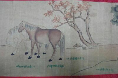 """Very Long Old Chinese Scroll Hand Painting """"JunMaTu"""" Horses """"LangShiNing"""" Marks"""