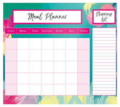 Magnetic Meal Planner & Tear Off Shopping List Note Pad Green Floral Design