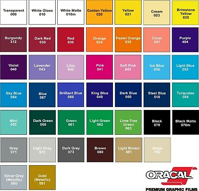 """5 roll lot - 12"""" x 3 ft each- Oracal 651 Vinyl for Signs & Decals. Pick Colors"""