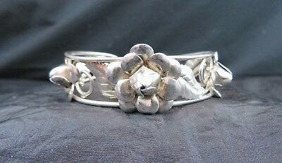"Vintage 6 1/4"" Pierced Cuff Bracelet in Sterling With Flowers & Leaves in Relief"