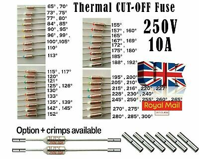 Thermal Cutoff Fuse 65°C to 300°C 10A 250VAC **UK STOCK  & FAST SHIPPING**
