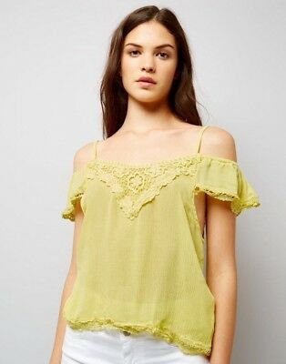 22bbc3763003b New Look - Cameo Rose Yellow Cold Shoulder Bardot Top - Size L - BNWT