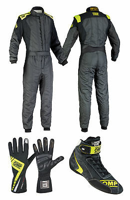 OMP First Evo Anthracite FIA Racewear Package Suit, Boots, Gloves Race / Rally
