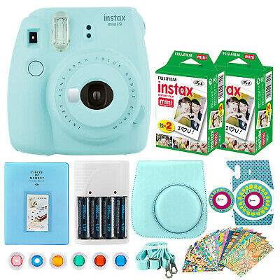 Fujifilm mini 9 Instant Film Camera (Ice Blue) + Instax 40 + Case + 6 Filters