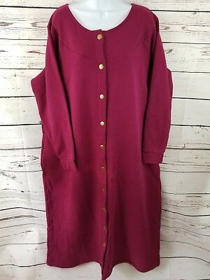 1XL Vermont Country Store Long Snap Front Stretch Sweatshirt Robe Bergundy  Gown ee2f08db1