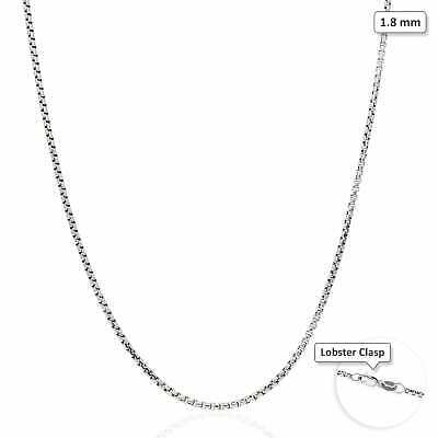 "14K Solid White Gold High Polished 1.8mm Round Box Link Chain Necklace 16""-30"""