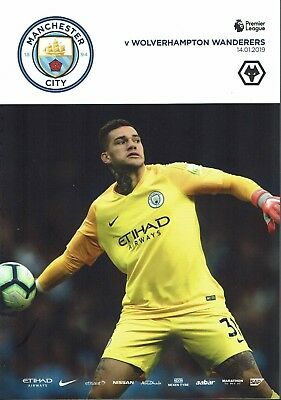 Man City v Wolves 14th January 2019 Official Match Programme 2018/2019