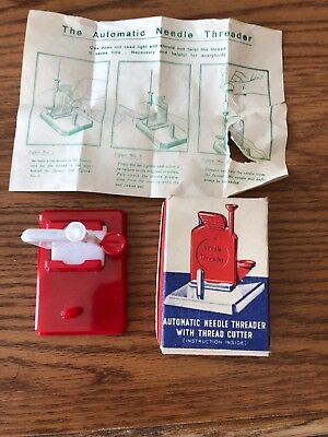 Vintage Red and White Automatic Needle Threader with Thread Cutter