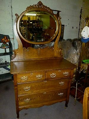Antique Dresser Bureau Oak Highboy With Beveled Mirror Ornate