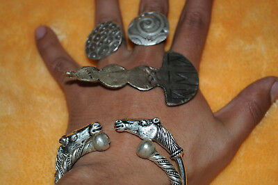 ANCIENT Rare SILVER Bronze Viking LOT SILVER THOR AXE TWISTED ANIMAL BRACELETS