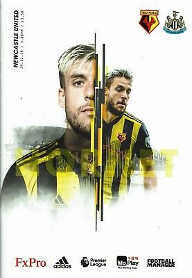 Watford v Newcastle United 29th December 2018 Official Match Programme 2018/2019