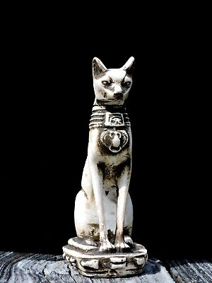 Vintage Bastet Egyptian Statue Hand Carved Stone Statue Painted in Ivory Glaze