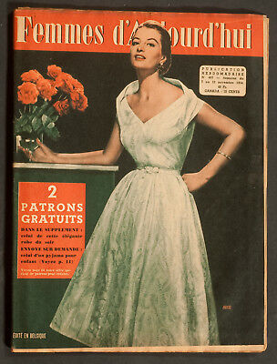 'femmes D'auourd'hui' French Magazine Evening Dress Pattern 7 November 1954