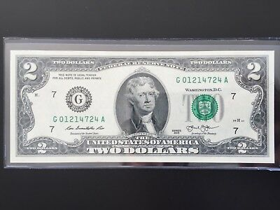 """2013 $2 TWO DOLLAR BILL ( Chicago """"G"""" ) UNCIRCULATED"""