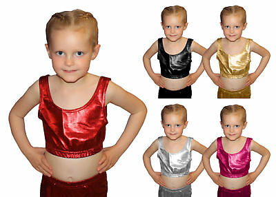 New Girls Shiny Metallic Dance Crop Top Vest Dance Wear Top 5 Colours 5-6-11-12
