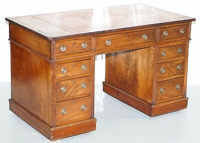 Lovely Original Period Antique Victorian Mahogany Partner Desk With Leather Top