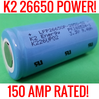 20 K2 Lifepo4 26650 Cells 2850Mah Lfp26650P Batteries Ev Car Audio 150A Rated!