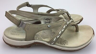 5677d2ae59fb Merrell Stella Bloom Aluminum Leather Walking Adjustable Sandal Women s 7  Beige