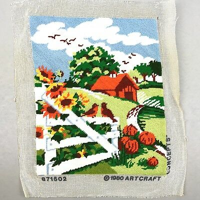 Completed Finished Needlepoint Country Landscape Floral Birds Barn Pumpkins 1980