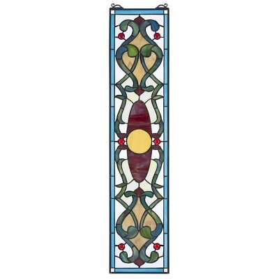 "35"" Lavish Geometric Fine Art Tiffany-Style Authentic Stained Glass Window Panel"
