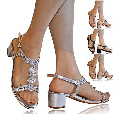 Womens Ladies Party Diamante Low Mid Flat Block Heels Shoes Sandals Size 1-106