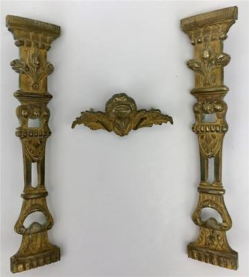Antique French Louis Victorian Gilt Bronze Ormolu Clock Furniture Mounts Pieces