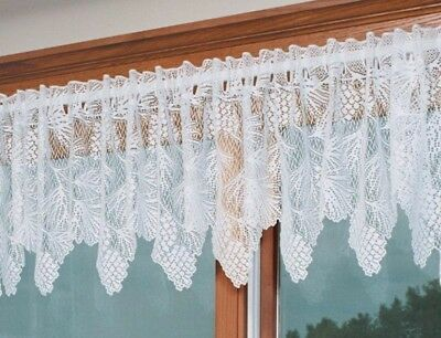 "Heritage Lace Woodland Pinecone White Country Scalloped Valance 60"" x 16"""