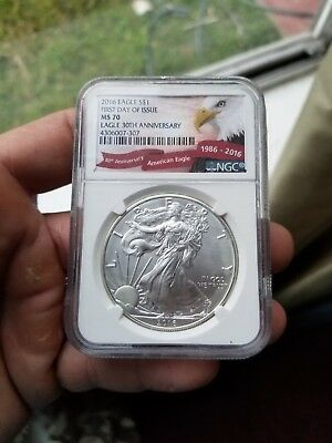 2016 American Silver Eagle NGC MS-70(30th Anniversary Label)