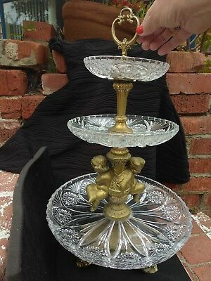 RARE VINTAGE  3-Tier Christal Glass Tray with Brass Angel decoration and Handle!