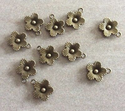 Small Flower Charms 14x17mm, Antique Bronze,10pcs  Diy Jewellery Making