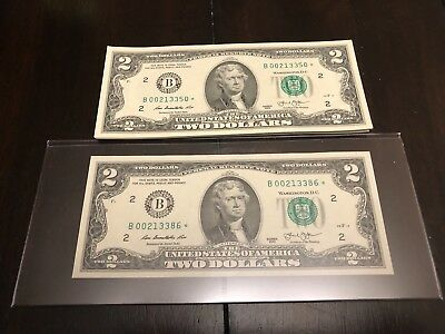 """2013 $2 TWO DOLLAR BILL Star Notes (NEW YORK """"B""""), UNCIRCULATED Sequential"""