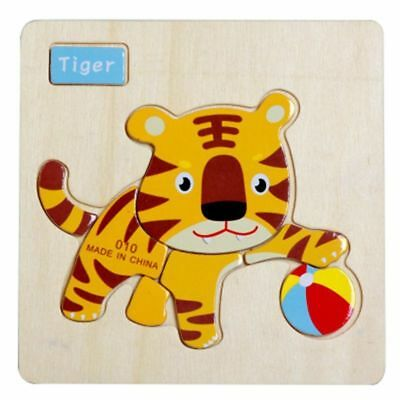 1x Tiger Wooden Puzzle Jigsaw Early Learning Baby Kid Pre-school Educational Toy