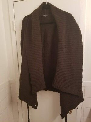 c14f36036a13b ANN DEMEULEMEESTER Brown Wrap Knit Sweater Belted Cardigan 38 4