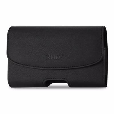 "Reiko Leather Horizontal Phone Pouch With Embossed Logo Black (7.0""X3.9""X0.7"")"
