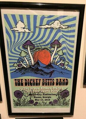 Allman Brothers Band Dickey Betts framed poster signed by Devon, Duane