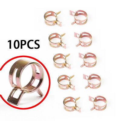 """10 Pcs- ID 3/8"""" Inch Spring Band Clip Fuel Silicone Vacuum Hose Clamp Kit Stock"""