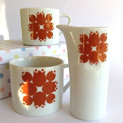 VINTAGE 1960s RETRO JAPANESE KELCO PORCELAIN MILK JUG + 2 COFFEE CUPS TULIPS
