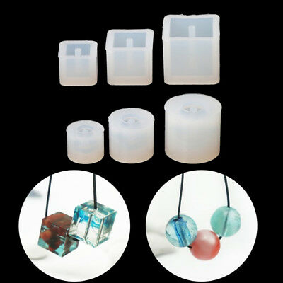 6Pcs Round Square Beads Silicone Mold Bracelet Pendant For Jewelry Making Mould